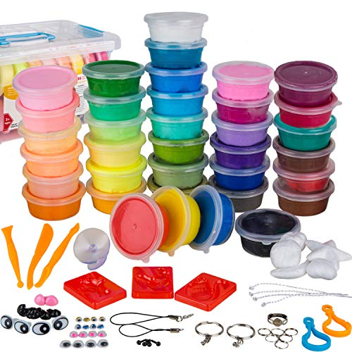 WIZOPLAY PolyClay Air Dry Clay Kit! 36 Colors Modeling Clay for Kids, Sculpting Clay Tools, Accessories, Case and Molding Clay Book! Safe, Soft Polymer Clay. STEM Toys Art Supplies, Model Craft Kits