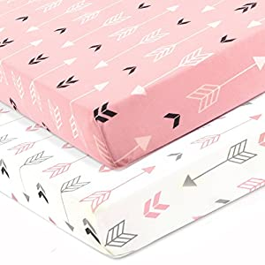 crib bedding and baby bedding stretchy fitted crib sheets set-brolex 2 pack portable crib mattress topper for baby girls boys,ultra soft jersey,full standard,pink & white arrow