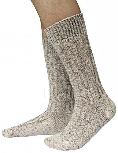 German Wear, Kurze Trachtensocken Trachtenstrümpfe Zopf muster Socken 44cm, Größe:44-46;Sockenfarbe:Natur/meliert