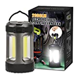 LED Camping Lantern, 2000LM Rechargeable Battery Powered Camping Lights 5 Light Modes Bright COB Lantern Outdoor Portable Lanterns Suitable for Emergency Camping Hiking and Car-repairing