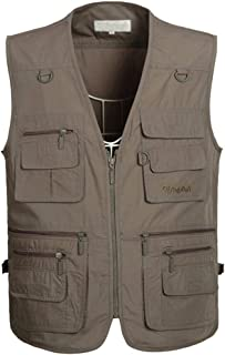 PASOK Men's Work Fishing Vests Lightweight Safari Travel Hunting Waistcoat with Multi-Pockets