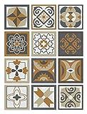 Panorama Azulejos Adhesivos Cocina Baño Pack de 72 Baldosas de 10x10cm Diseño Hidráulico Naranja - Vinilos Cocina Azulejos - Revestimeinto de Paredes - Cenefas Azulejos Adhesivas