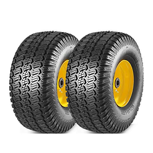 MaxAuto 2 Pcs Lawn Mower Tires 15x6.00-6 with Wheel for Riding Mowers, 3' Offset Hub Long with 3/4' bearings(WILL NOT FIT ON TRAILERS)
