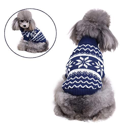 STKJ hondenpullover, winter, gebreid, kleding, klassiek, warm, sneeuwvlok
