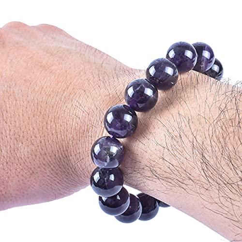 Mens Amethyst Bracelet, Real Amethyst Bracelet for Men, Natural Dark Purple Amethyst bracelet 7.25 inch Stretch, 14mm Large Bead Healing Jewelry Bracelet for Boy Guy
