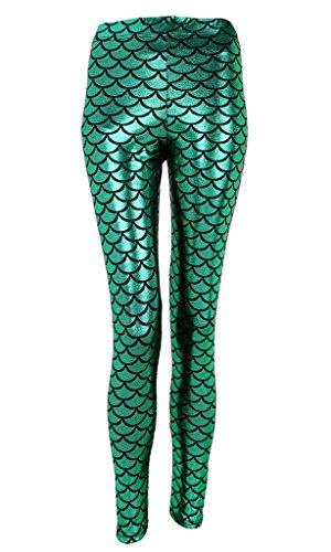 Ayliss Damen-Leggings Meerjungfrau/Fischschuppen-Druck, Stretch-Hose Gr. L, grün