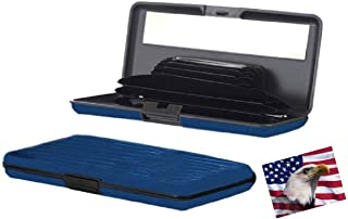iLett. Aluminum Wallet Extra Large, Blue, Resistant, Credit Card Holder, RFID Block, with Mirror, 7 Pockets. Ultra Slim, f...