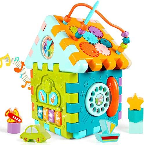 HANMUN Motorikwürfel Lernspielzeug 1 Jahre Musikspielzeug - 9 in 1 Multifunktions Baby Aktivität Würfel Spielzeug mit Formsortierer, Perlen Labyrinth, Geschenk für Babys Kleinkinder ab 18 Monaten