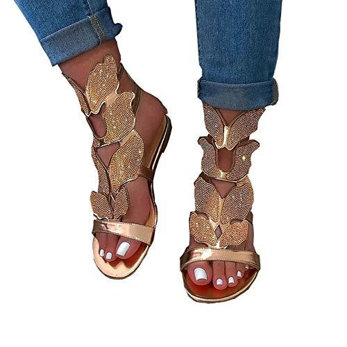 Verano Sandalias Mujer,Zapato Peep-Toe con Tacón Plano Flores de Diamantes de imitación...