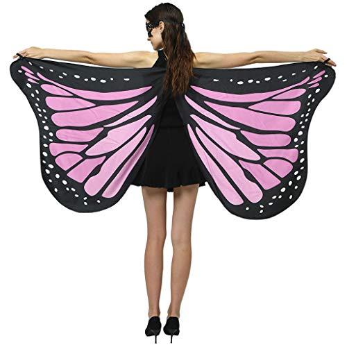 Erwachsene Schmetterlingsflügel Kostüm,Riou Schmetterling Kostüm Damen Pixie Nymphe Flügel Schal Umhang für Hallowee Karneval Fasching Kostüme Party Cosplay