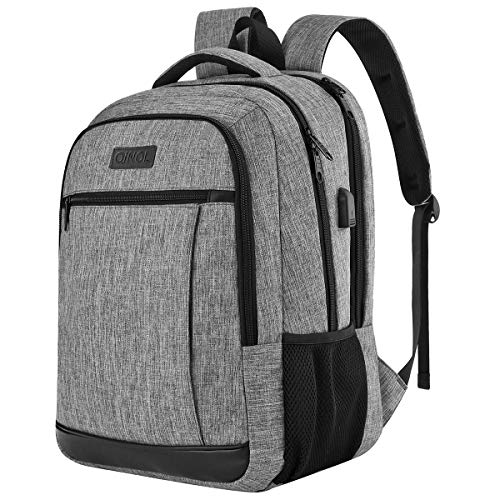 QINOL Travel Laptop Backpack Anti-Theft Work Bookbags With Usb Charging Port, Water Resistant 15.6 Inch College Computer Bag for Men Women (Grey)