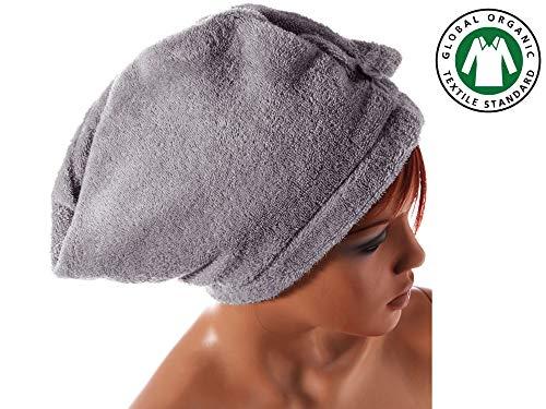 Seventex Coton Bio Égée Cheveux Turban Serviette, Serviette Cheveux Séchage Rapide, Biologique Certifié GOTS (Global Organic Textile Standard), (Gris)