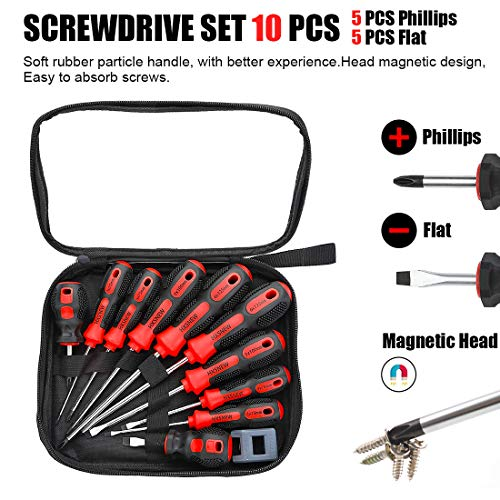 HXSNEW Magnetic Screwdriver Set 10 PCS,5 Phillips and 5 Flat Head Screwdriver Non-Slip for Repair Home Improvement Craft (Red)