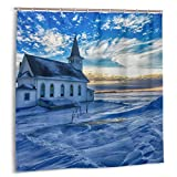 Yaateeh Sky Clouds Snow Winter Landscape Church Cloth Shower Curtains in Bath with Hooks Home Decorations Gifts 72x72 Inches