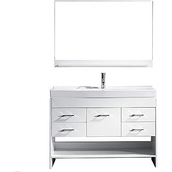 Virtu USA Gloria 48 inch Single Sink Bathroom Vanity Set in White w/Integrated Square Sink, White Ceramic Countertop, Single Hole Polished Chrome, 1 Mirror - MS-575-C-WH