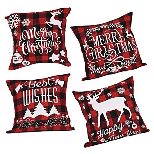 ABOOFAN 4 fundas de almohada de Navidad para vacaciones, funda de almohada de lino, funda de cojín de alce de árbol de Navidad para coche, cama o casa (negro, rojo)