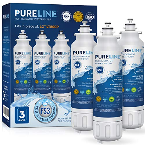 Pureline ADQ73613401 & LT800P Water Filter Replacement for LG LT800p, ADQ73613401, ADQ73613402, ADQ73613408, ADQ75795104, Kenmore 46-9490, LSXS26326S, LMXC23746S, LMXC23746D. (3 Pack)