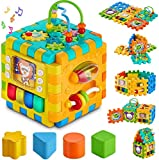 prime deals baby activity cube toddler toys - 6 in 1 shape sorter toys baby activity play centers for kids infants educational music play cube preschool toys for 1 - 2 years old boys & girls holiday- Multi color