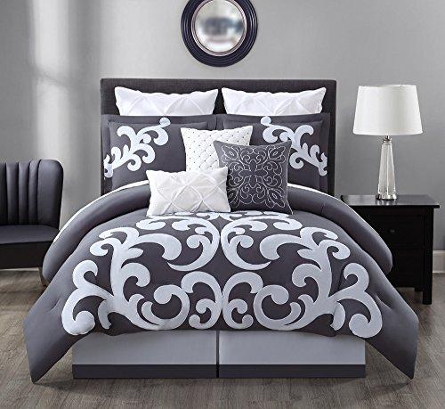 9 Piece Empress 100% Cotton Gray/White Comforter Set King