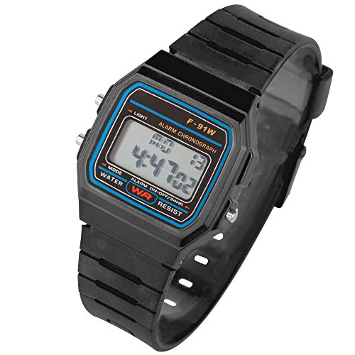 Taffstyle Damen Herren Sportuhr Silikon Armbanduhr 80er Jahre mit Alarm Datum Kalender Viereckig Vintage Retro Digital Uhr Schwarz