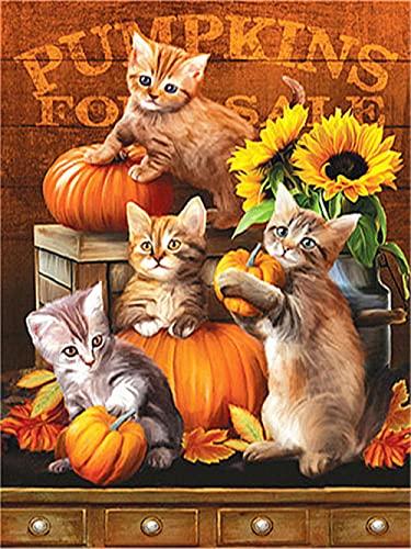 5D DIY Kit de pintura de diamantes redonda Cuadrado grandes Halloween lindo gato y calabaza girasol cristales de estrás...