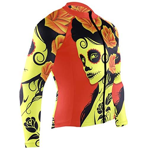 Mens Cycling Jersey Sugar Skull Biking Bicycle Jersey Shirt