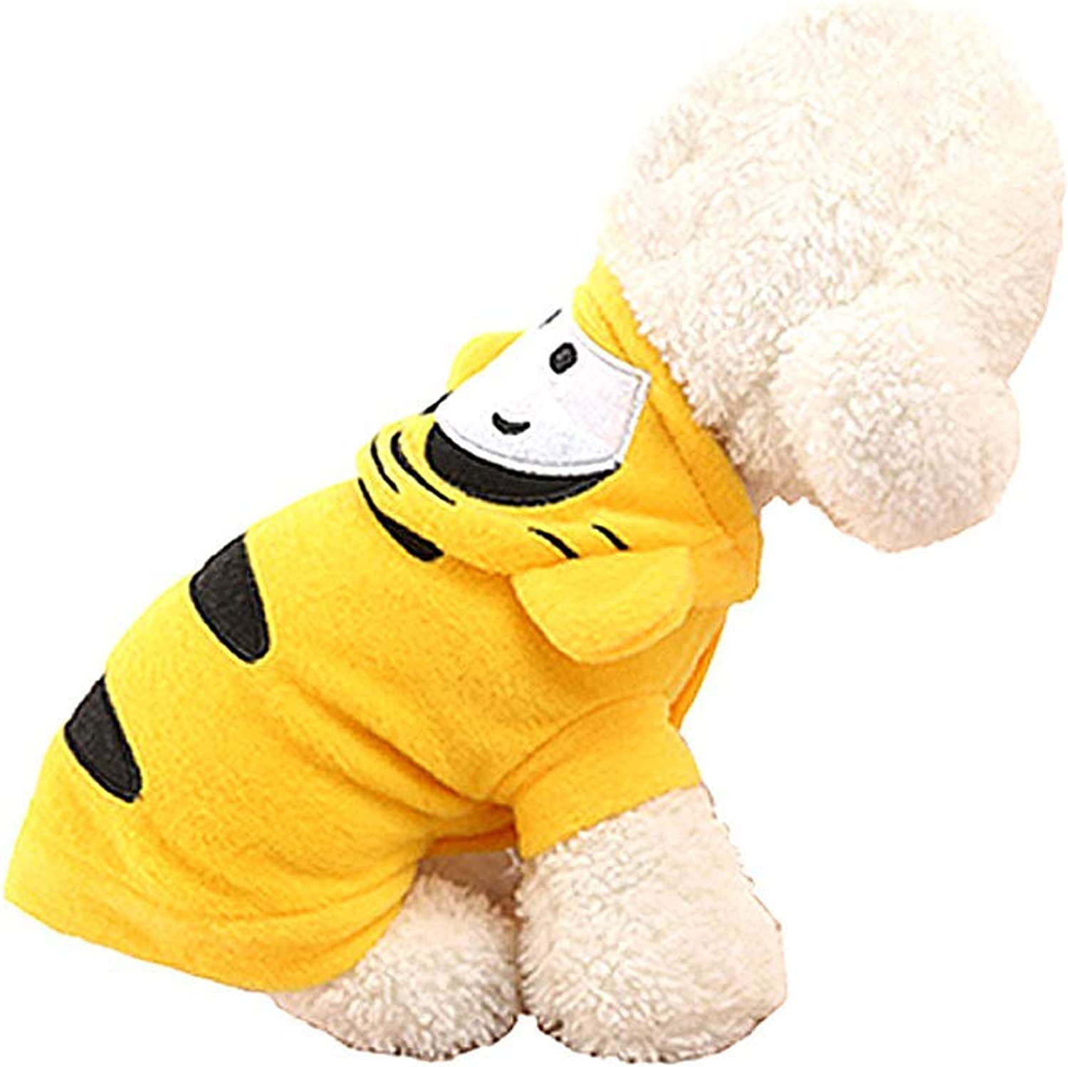 DOSNVG Winter Pet Clothes Yellow Tiger Dog Cosplay Garment, Teddy Bomei Puppy Clothing, S