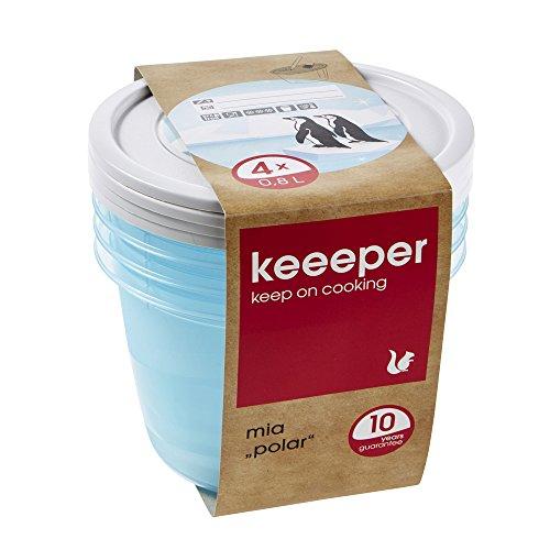 keeeper Tiefkühldosenset 4-teilig, Wiederbeschreibbarer Deckel, 4 x 800 ml, Ø 14 x 9 cm, Mia Polar, Eisblau Transparent