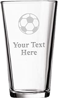 Personalized Beer Glasses, Laser Engraved Custom Pint Glass, Customized Soccer Ball Soccer Coach Gift Prime