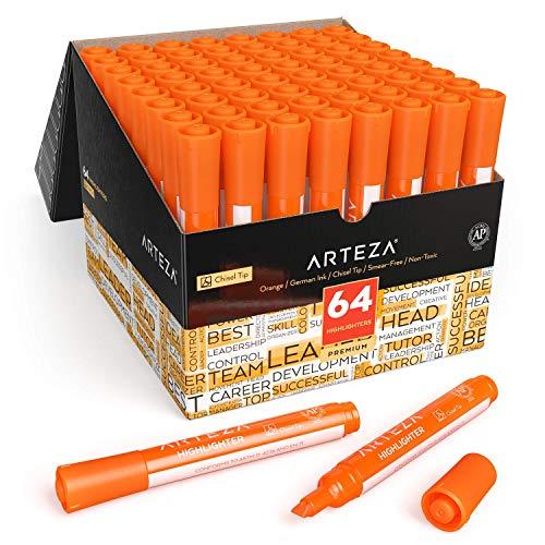 Arteza Subrayadores color naranja   Pack de 64   Punta biselada   Marcadores resaltadores de color naranja para la oficina y el colegio, para niños y adultos