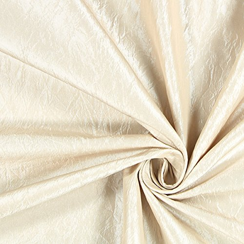 Fabulous Fabrics Dekotaft Crash glänzend – beige — Meterware ab 0,5m — zum Nähen von Kissen, Tischdecken und Vorhänge