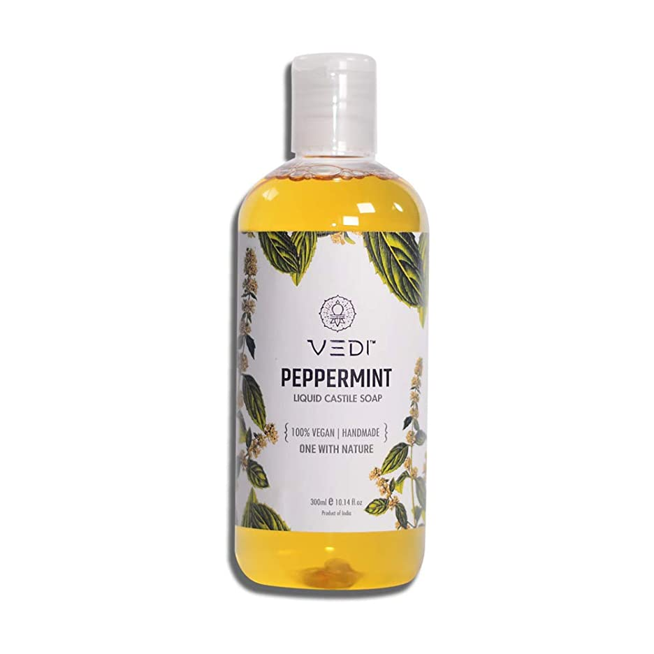 落胆する降雨解決するPEPPERMINT LIQUID CASTILE SOAP (300ml)