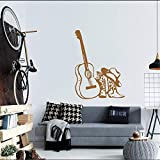 lyclff Musikgitarre Mit Hut Stiefel Vinyl Wandtattoos Home Special Fashion Style Dekoration Wandbild Aufkleber Akustische Abziehbilder ~ 1 84 * 116 cm