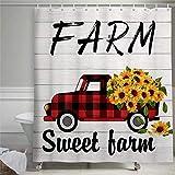 Cortina de ducha de girasoles para coche, para primavera, verano, camión, granja, flores silvestres, de madera rústica, para baño de granja, cortina de ducha con anillos de poliéster Fab