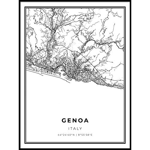 Skanndi Genoa Map Print, Italy Genova Italia Map Art Poster, Modern Wall Art, Street Map Artwork 9x11