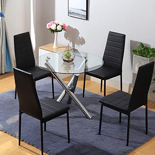 INMOZATA Round Glass Dining Table Set and 4 Faux Leather Padded Chairs Dining Room Set Black