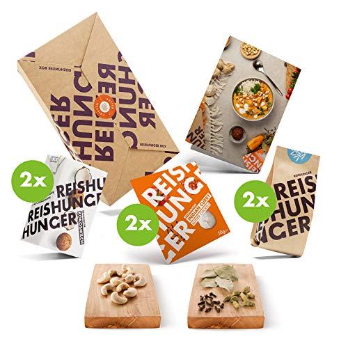 Reishunger Butter Chicken Curry Box (für 4 Personen) Alles in einer Box - Curry Paste, BIO Basmati Reis, Kokosmilch, Cashewkerne und Indisches Reis Gewürz