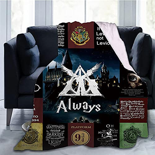 JRDDX Harry Potter Collage Anime Wool Blanket Blanket, Fuzzy Warm Blanket for Winter Bedding, Sofa and Plush House Warm Decoration Gift Ideas-Photo Color_60 * 90
