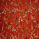 Jersey Waldtiere, Bäume, rot (50cm x 155cm)