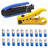 BJLWTQ Herramienta de compresión coaxial Cable coaxial RG6 Crimper Kit Ajustable RG59 RG11 75-5 75-7 Separador del Cable coaxial con Conectores de compresión 20 F PCS - Azul
