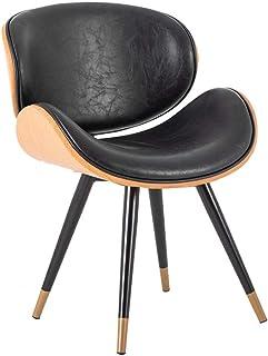 SONGYU Chaise de Salle à Manger en Bois et Cuir avec Dossier Coussin rembourré en Forme d'arc Pieds plaqués Or Chaise d'ap...