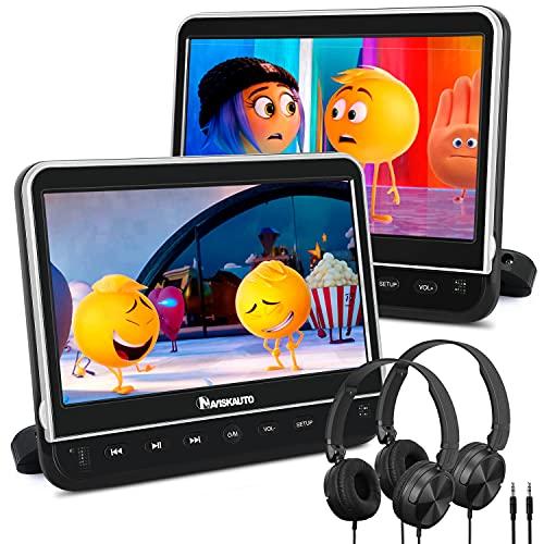 NAVISKAUTO 2 DVD Portátil Coche con HDMI, 10.1'' Reproductor DVD Soporte Reposacabezas/MP4/1080P/MKV/USB/SD/AVI, 2 Auriculares y Control Remoto Gratis