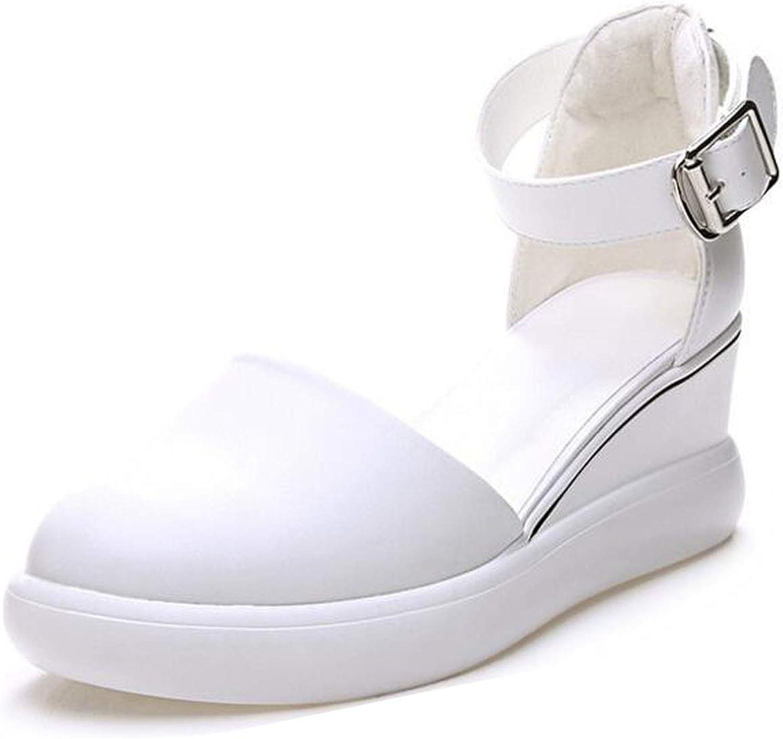 2018 Summer Leather Women shoes Sandals Wedges Sandals Round Toe White Platform Sandals shoes