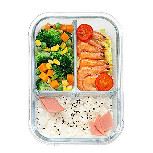 1040Ml Glas Lunch Box met 3 vakken Magnetron Oven Servies Voorbereiding Glas voedsel opslag container
