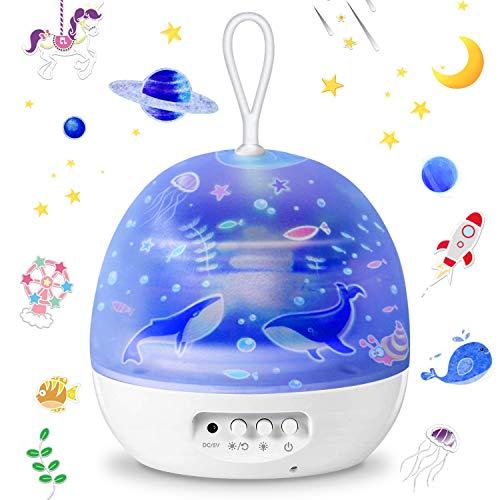 HebyTinco Lámpara Proyector, Lámpara Proyector Estrellas, Luz Planetas Iluminación Romántica con Rotación 360 Grados Luz Nocturna, Lámpara Infantil con Control de Temporizador