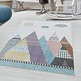 Ayyildiz - Alfombra de pelo ras para habitación infantil, alfombra para niños, montañas, nube multicolor, 200 x 290 cm