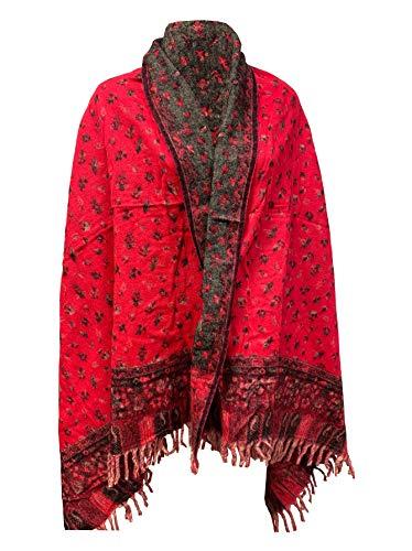 Hot Pink Weicher warmer Wollschal für den Winter, handgefertigt, luxuriöser Schal, Dekoration, Decke, Übergröße, wendbar, Winterschal, reine Yak-Wolle