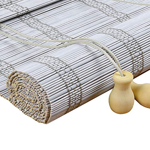 Grayish White Bamboo Shades - Roll Up Window Blinds for Outdoor/Patio/Door, Custom Blinds, Waterproof Anticorrosive (Size : 100x130cm)