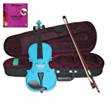 GRACE 4/4 (Full) Size Blue Acoustic Violin with Case and Bow+Free Rosin+Merano Brand E String