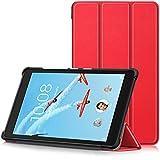 TTVie Housse pour Lenovo Tab E8 - Étui Ultra Mince et Léger à Rabat avec Support pour Lenovo E8 TB-8304F Tablette Tactile 8' Modèle 2018, Rouge
